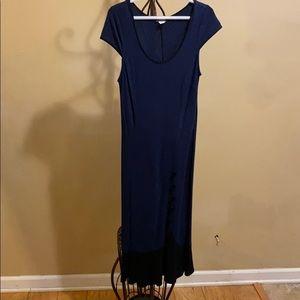 Long Navy Blue Mermaid Cut Dress w Button Detail